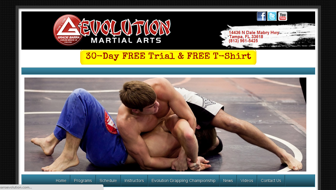 Evolution Martial Arts Website Screenshot